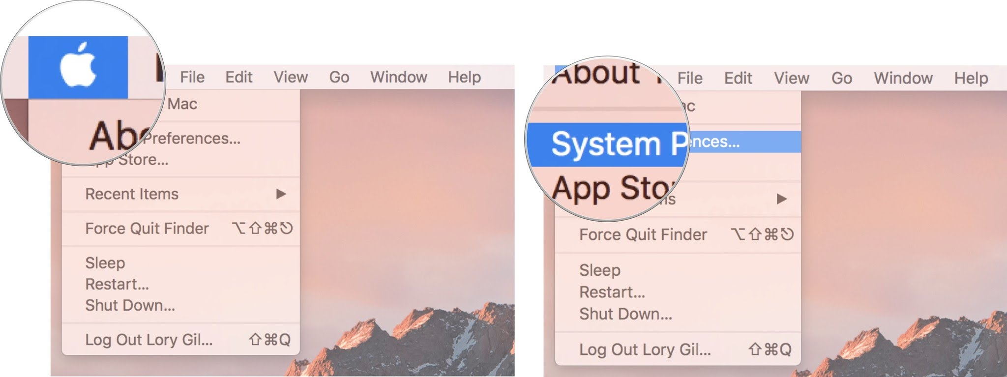 Click on Apple Menu, then click System Preferences